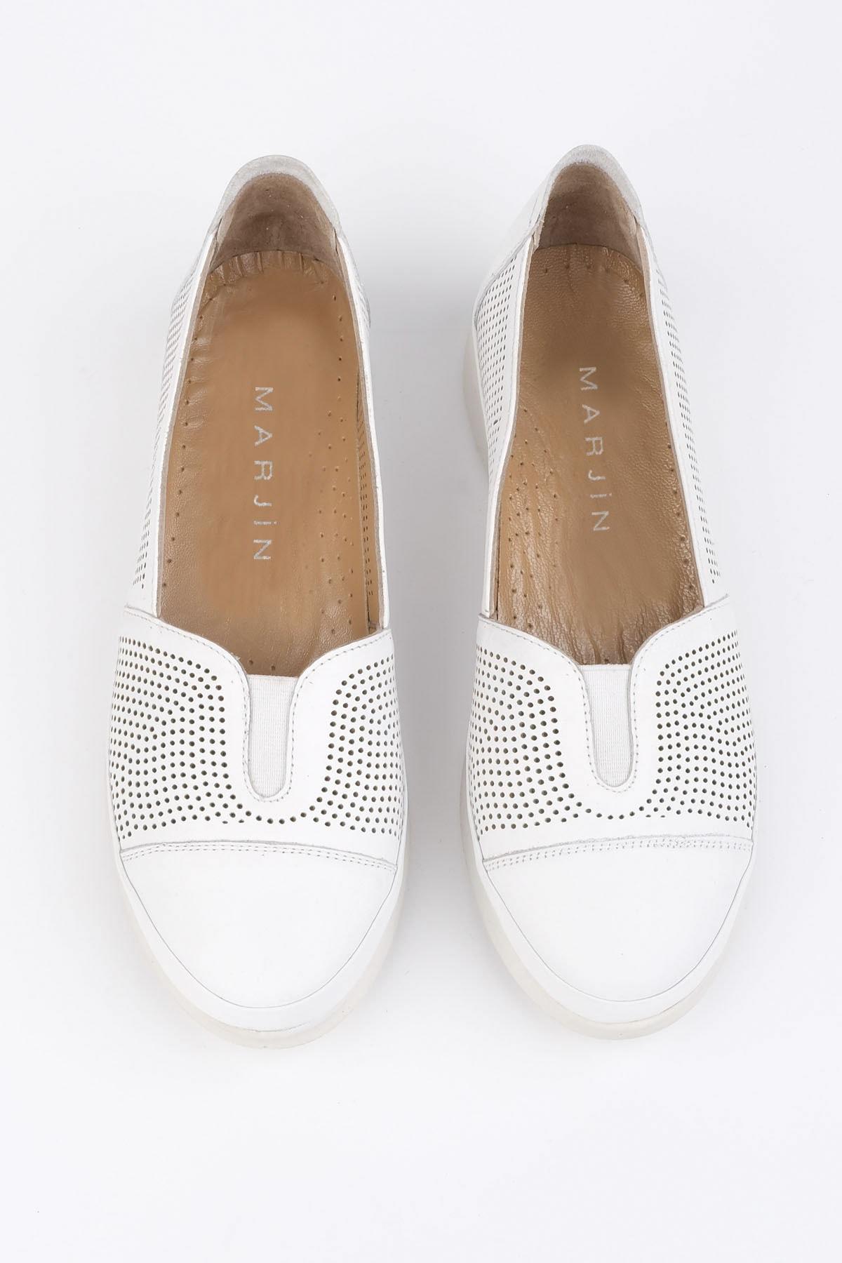 Marjin Kadın Beyaz Hakiki Deri Comfort Ayakkabı Vona 1