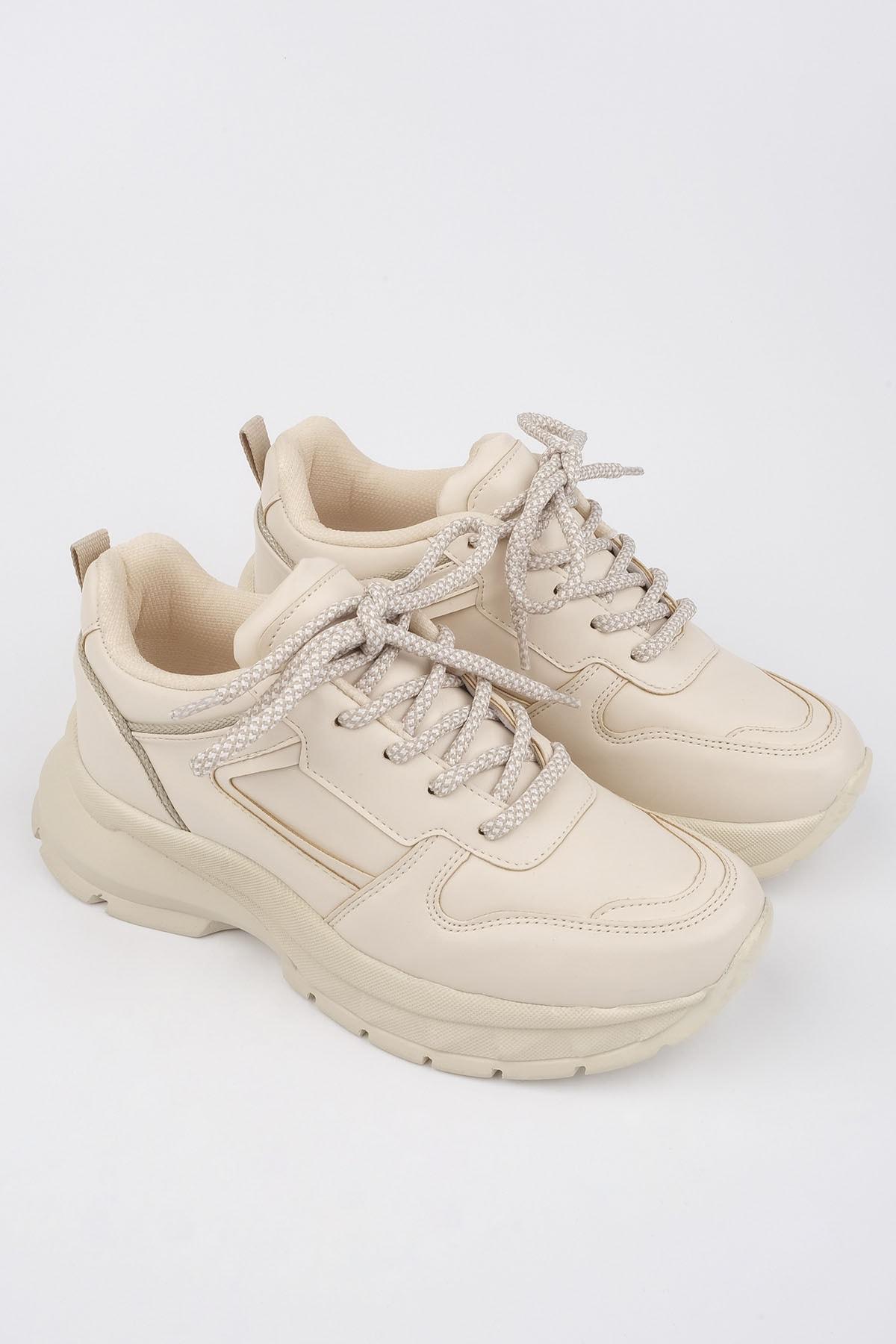 Marjin Kadın Bej Sneaker Dolgu Topuk Spor Ayakkabı Besri 3