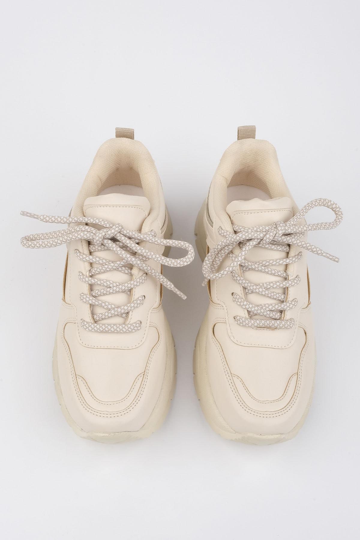 Marjin Kadın Bej Sneaker Dolgu Topuk Spor Ayakkabı Besri 4