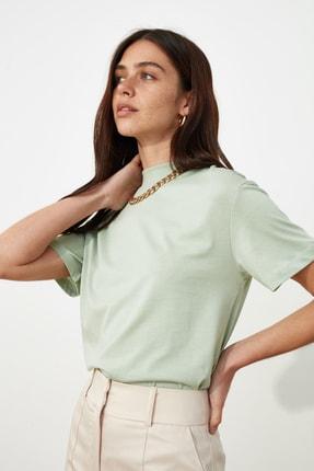 TRENDYOLMİLLA Mint Basic Dik Yaka Örme  T-Shirt TWOAW20TS0096 2