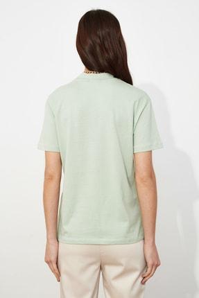 TRENDYOLMİLLA Mint Basic Dik Yaka Örme  T-Shirt TWOAW20TS0096 4