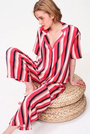 Trend Alaçatı Stili Kadın Mercan Yakalı Dokuma Pijama Takım ALC-X5895 1