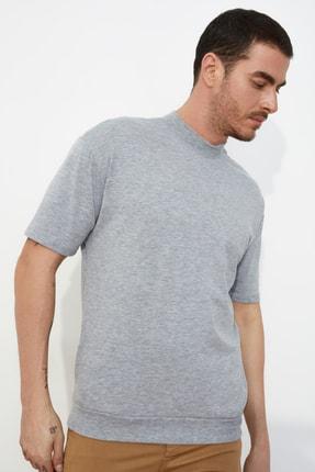 TRENDYOL MAN Gri Erkek Dik Yakalı Regular Fit  T-Shirt TMNSS21TS0207 1