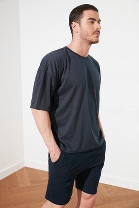 TRENDYOL MAN Açık Lacivert Basic Erkek Oversize Bisiklet Yaka Kısa Kollu T-Shirt TMNSS21TS0811 2