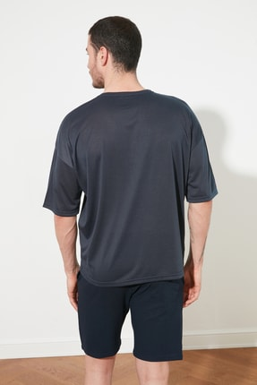 TRENDYOL MAN Açık Lacivert Basic Erkek Oversize Bisiklet Yaka Kısa Kollu T-Shirt TMNSS21TS0811 4