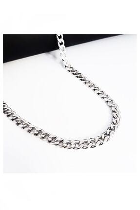 Bijustore Gümüş Renk Çelik Zincir Kolye 1