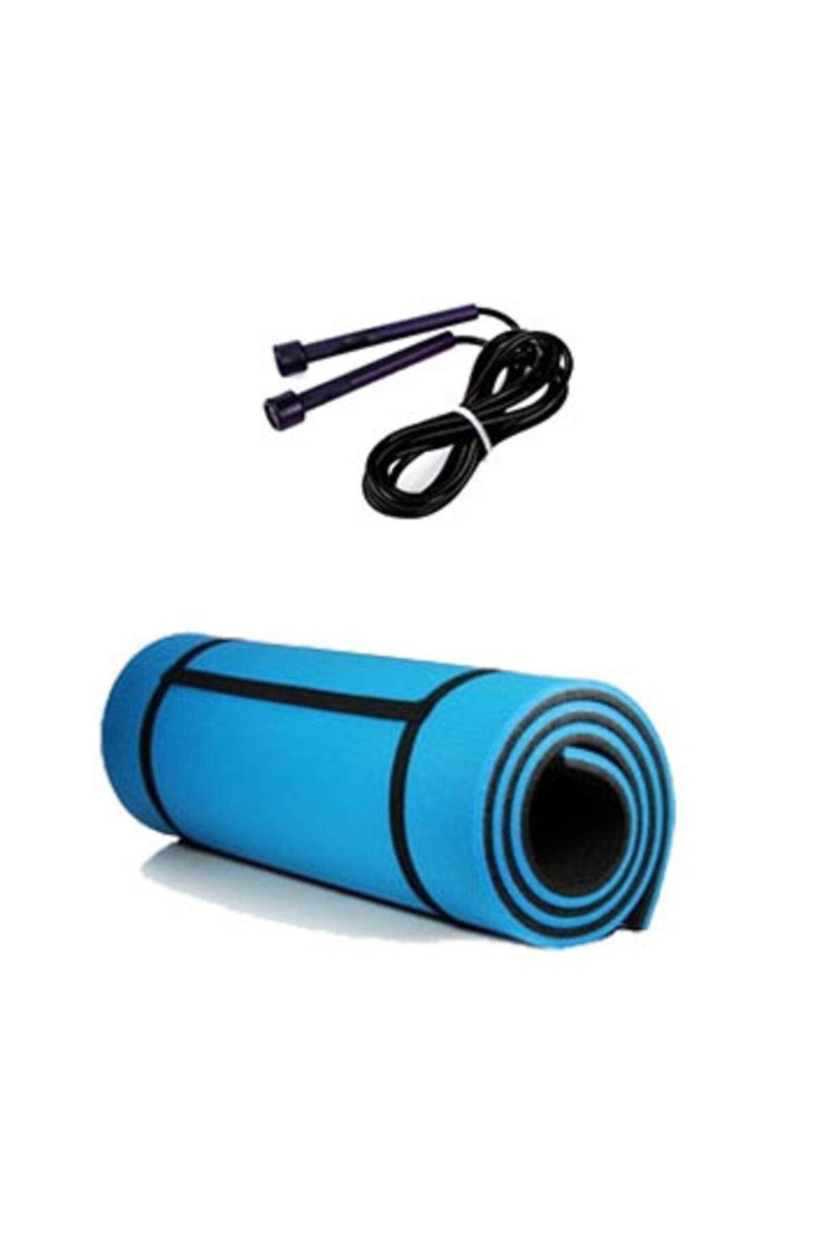 Pilates Ve Yoga Seti Mavi 10mm Pilates Minderi & Mat'ı Siyah Atlama Ipi 2'li