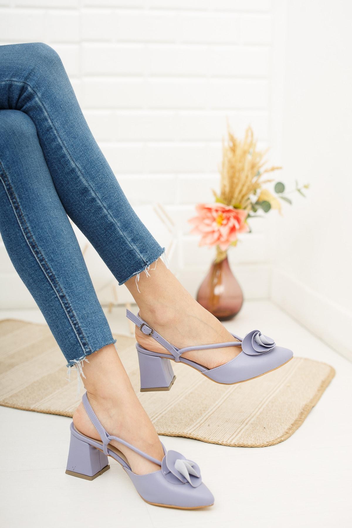 Kadın Gül Fiyonklu Topuklu Ayakkabı