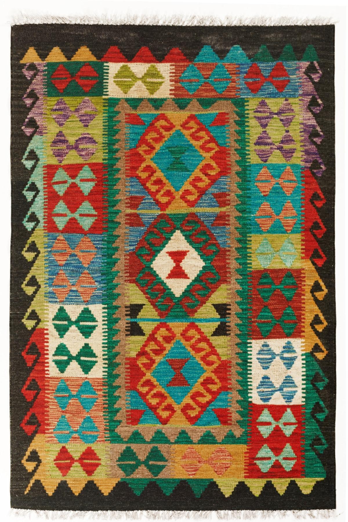 Cotton Pamuklu Çok Renkli Otantik Ve Etnik Desenli Kilim 502