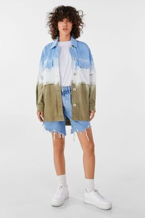 Bershka Kadın Haki Batik İnce Ceket 3