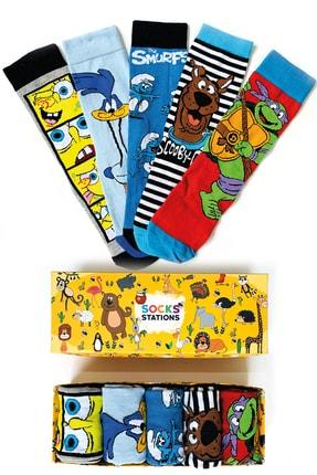 Socks Stations 5'li Çizgi Karakterler Desenli Çorap Kutusu 0
