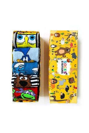 Socks Stations 5'li Çizgi Karakterler Desenli Çorap Kutusu 1