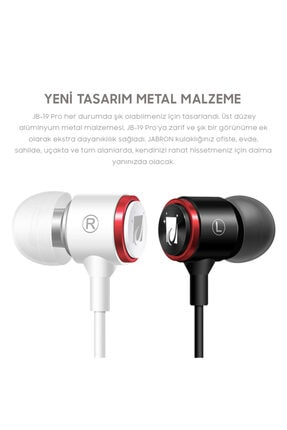 JABRON Beyaz Jb-19 Pro Mikrofonlu Kablolu Kulak Içi Kulaklık ve Özel Taşıma Çantası 2