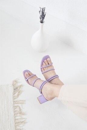 Straswans Camren KadınTopuklu Deri Sandalet Lila 1