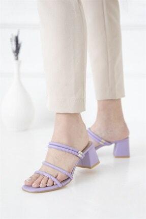 Straswans Camren KadınTopuklu Deri Sandalet Lila 2