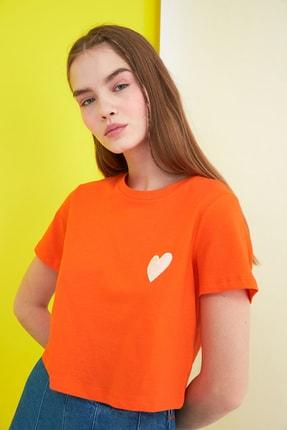 TRENDYOLMİLLA Turuncu Crop Örme T-Shirt TWOSS21TS0649 1