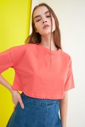 TRENDYOLMİLLA Turuncu Crop Örme T-Shirt TWOSS21TS0784 2