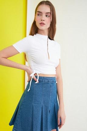 TRENDYOLMİLLA Beyaz Büzgülü Örme Bluz TWOSS21BZ0180 2
