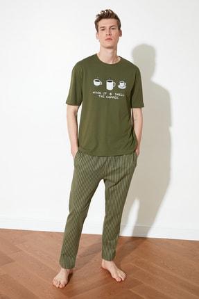 TRENDYOL MAN Haki Coffee Baskılı Örme Pijama Takımı THMAW21PT0833 2
