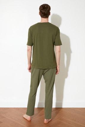 TRENDYOL MAN Haki Coffee Baskılı Örme Pijama Takımı THMAW21PT0833 4