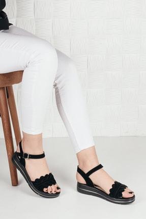 Weynes Kadın Siyah Süet Çiçekli Terlik Sandalet Ba20294 0