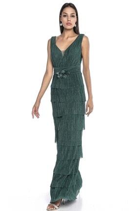 Abiye Sarayı Kadın Yeşil Bel Ve Göğüs Detaylı Kat Kat Uzun Abiye 0