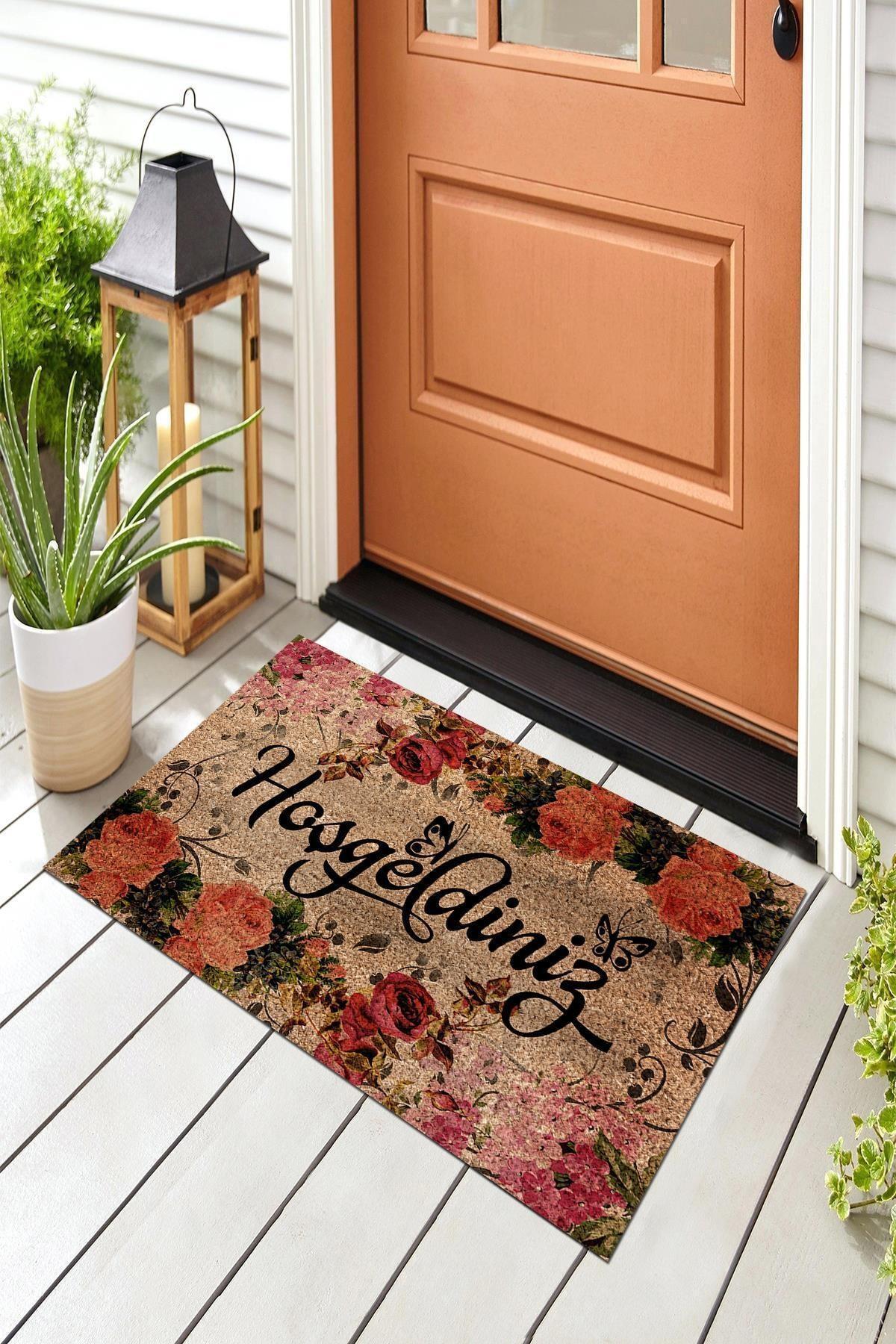 Hoşgeldiniz Sonbahar Dekoratif Kapı Önü Paspası