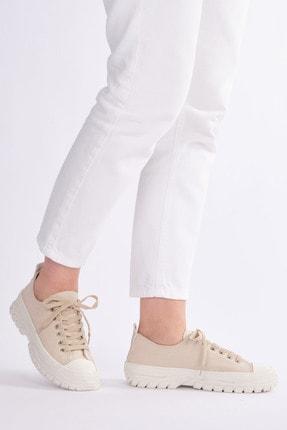 Marjin Kadın Bej Sneaker Spor Ayakkabı Antur 1