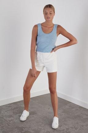 Join Us Kadın Mavi Yuvarlak Yaka Triko Atlet 1