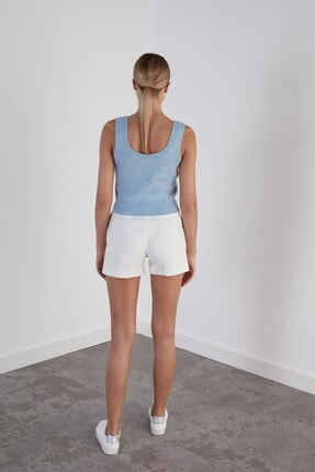 Join Us Kadın Mavi Yuvarlak Yaka Triko Atlet 3