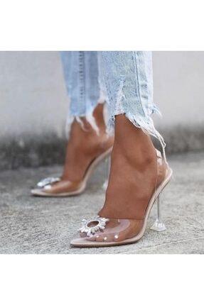 Giydim Gidiyor Sindirella Kristal Taşlı Topuklu Stiletto Şeffaf 0