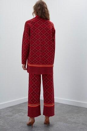 Join Us Kadın Kırmızı Simli Desenli Triko Hırka 3