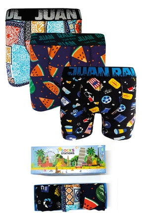 Socks Stations 3'lü Renkli Desenli Boxer Kutusu 0