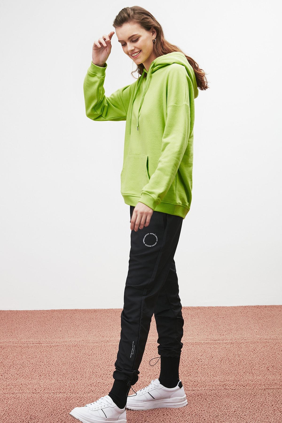 GRIMELANGE JANE Kadın Fıstık Yeşili Basic Kapüşonlu Sweatshirt 2