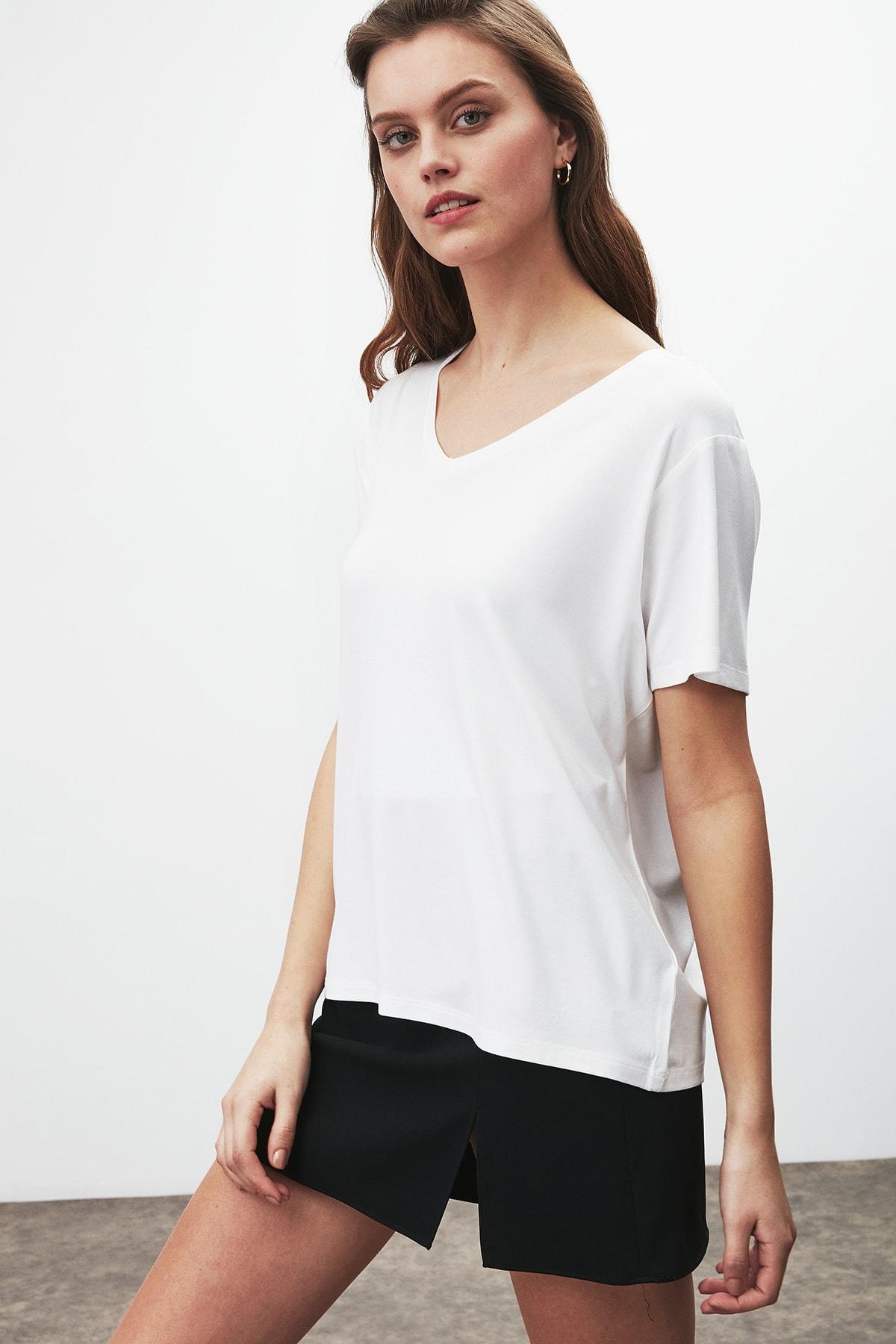 GRIMELANGE Vıolet Kadın Beyaz Comfort Fit V Yaka Kısa Kollu T-shirt 1