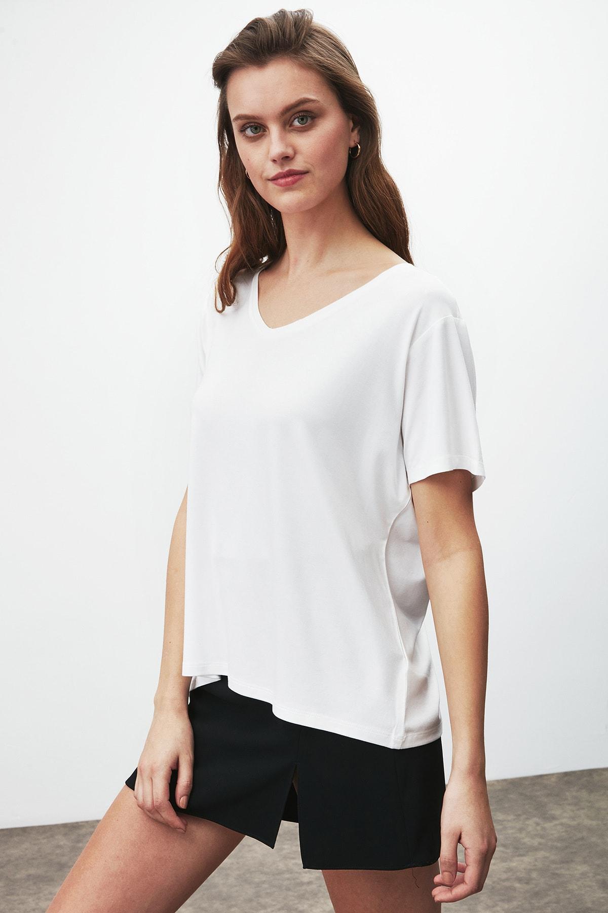 GRIMELANGE Vıolet Kadın Beyaz Comfort Fit V Yaka Kısa Kollu T-shirt 2