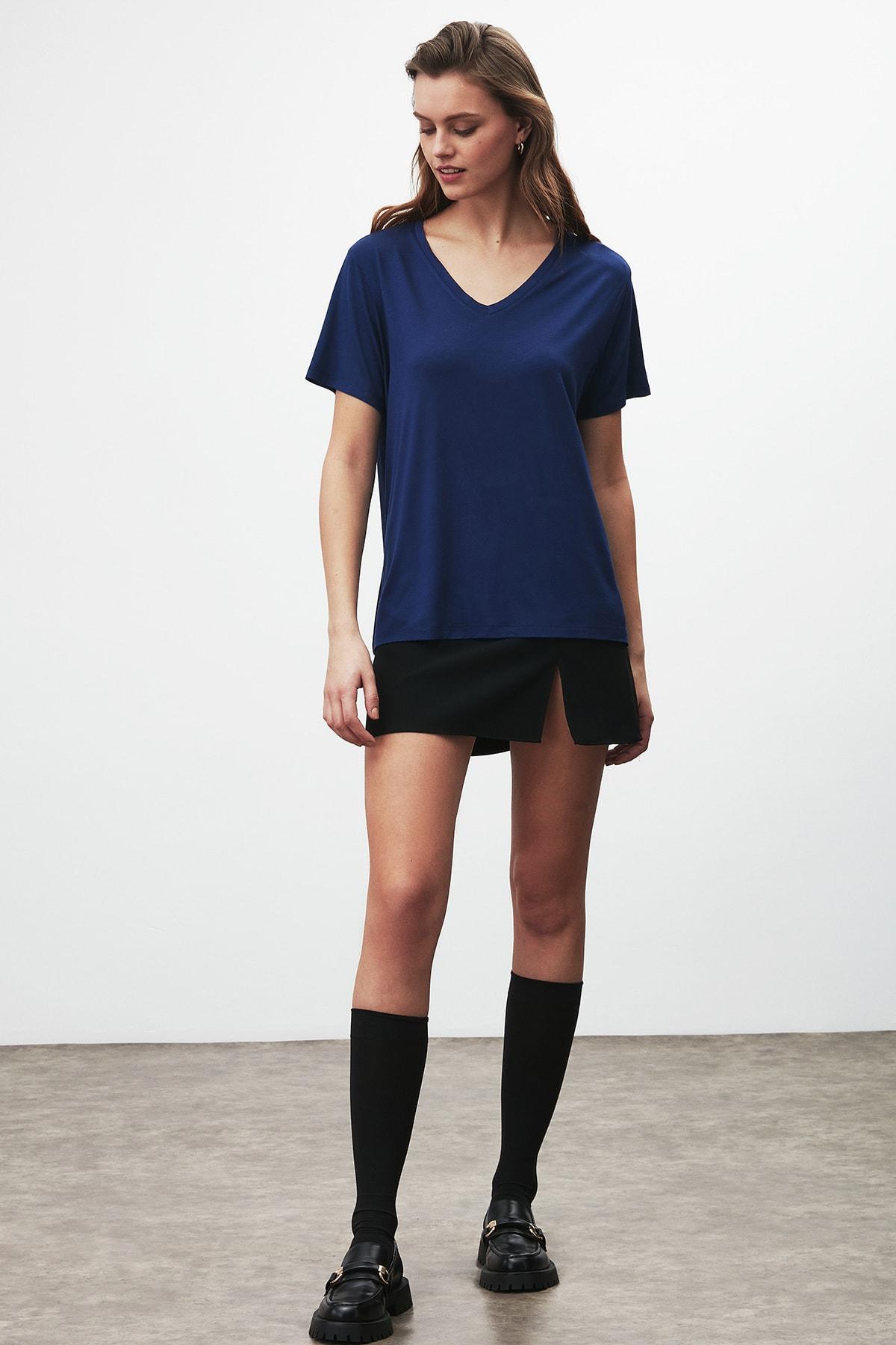GRIMELANGE Vıolet Kadın Lacivert Comfort Fit V Yaka Kısa Kollu T-shirt 0