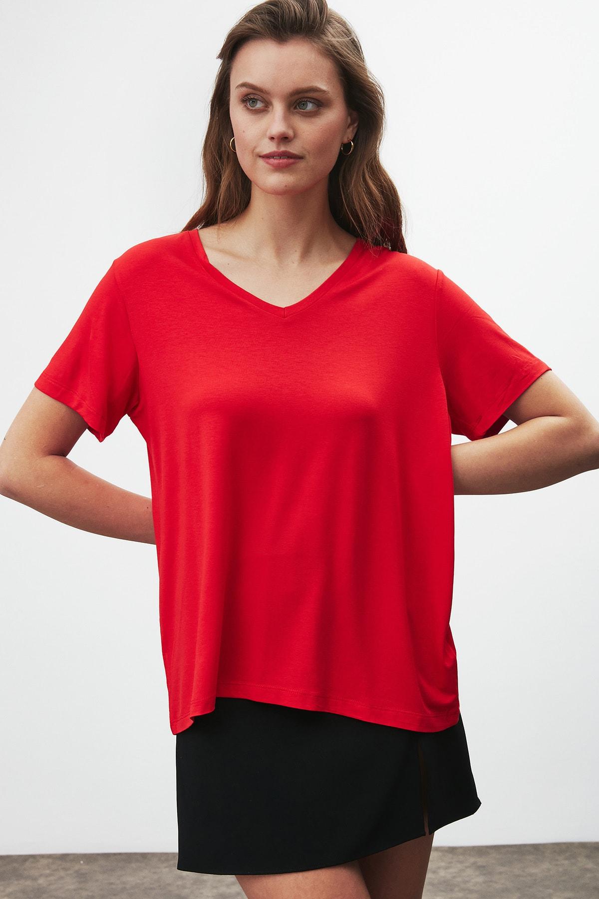 GRIMELANGE Vıolet Kadın Kırmızı Comfort Fit V Yaka Kısa Kollu T-shirt 1