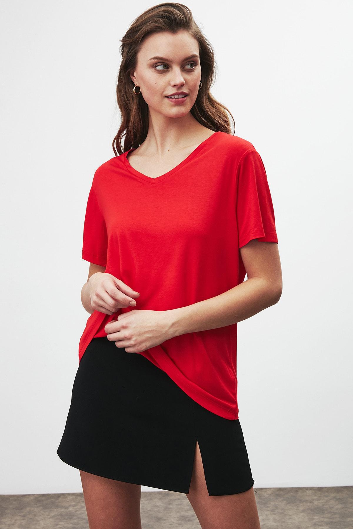 GRIMELANGE Vıolet Kadın Kırmızı Comfort Fit V Yaka Kısa Kollu T-shirt 4