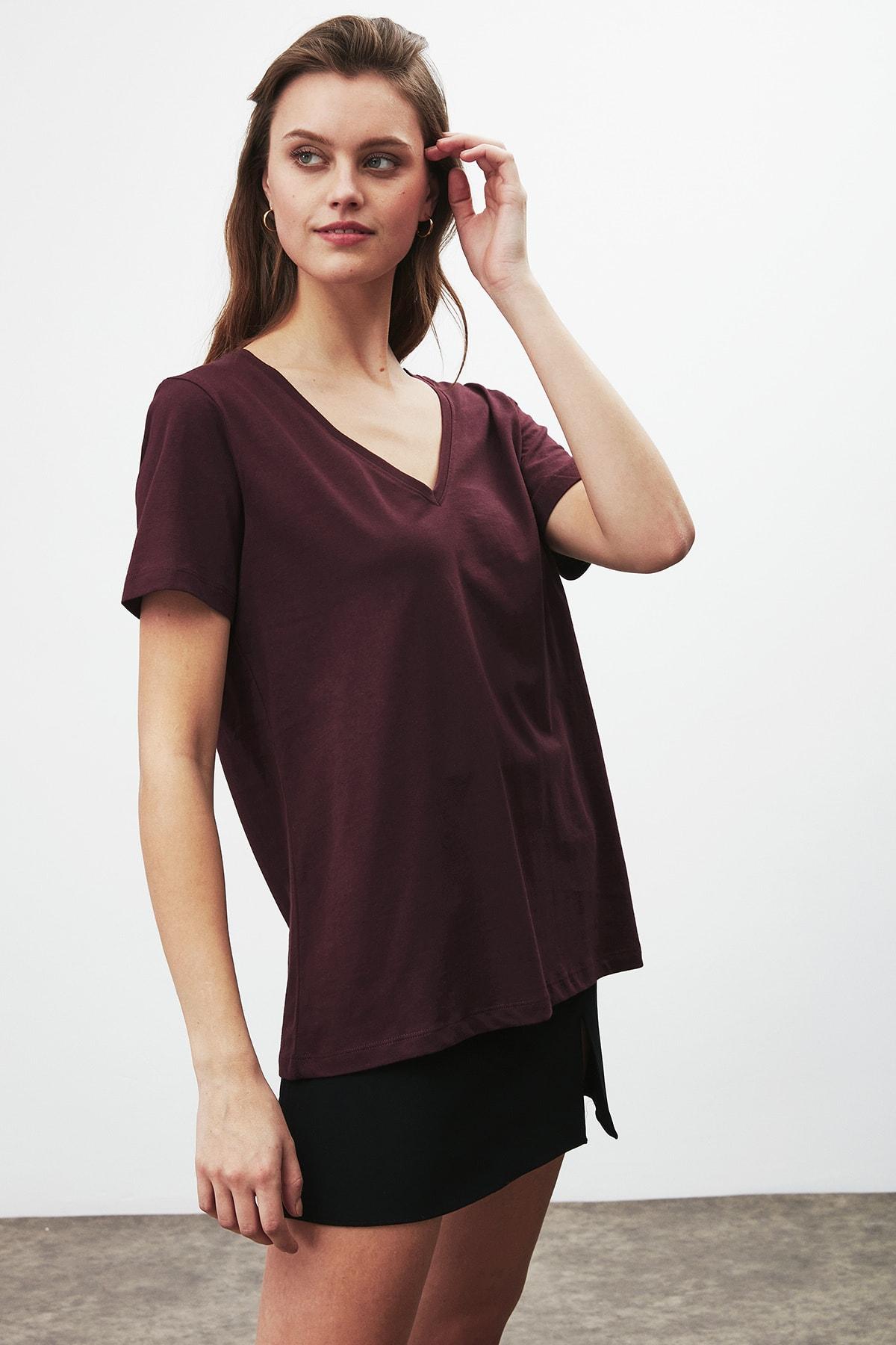 GRIMELANGE PAISLEY Kadın Bordo V Yakalı Kısa Kollu T-Shirt 0
