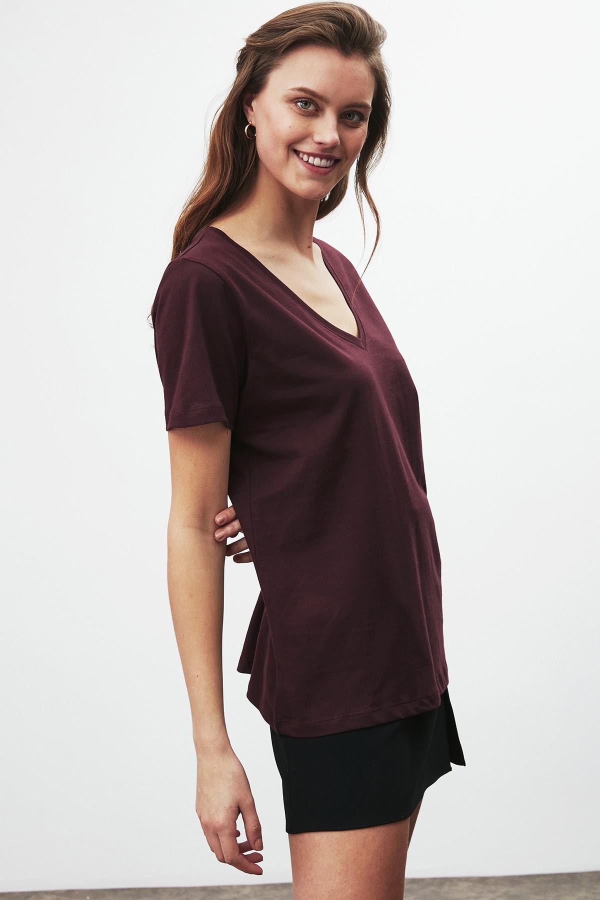 GRIMELANGE PAISLEY Kadın Bordo V Yakalı Kısa Kollu T-Shirt 1