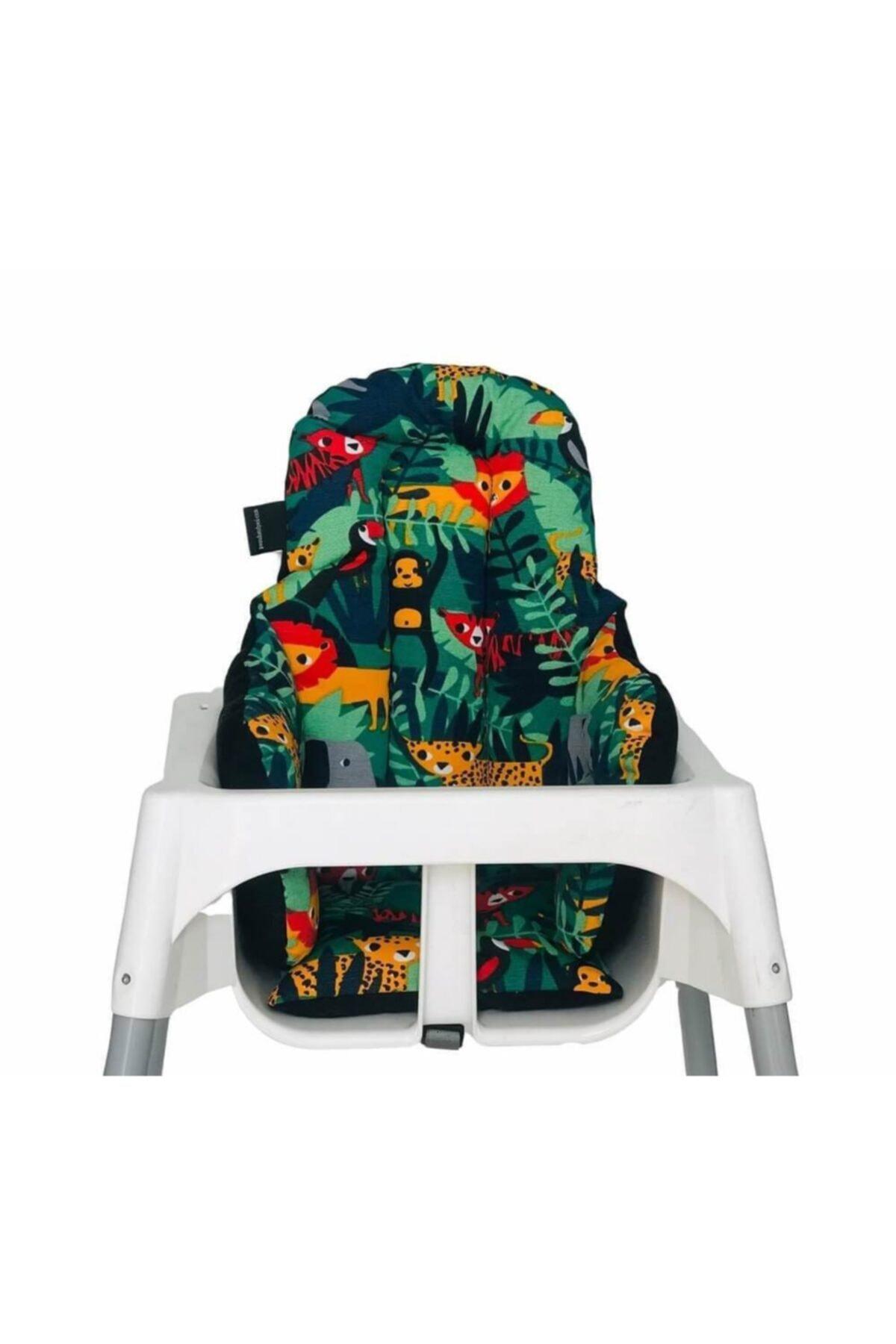 Siyahlı Küçük Mama Sandalyesi Minderi Çift Taraflı