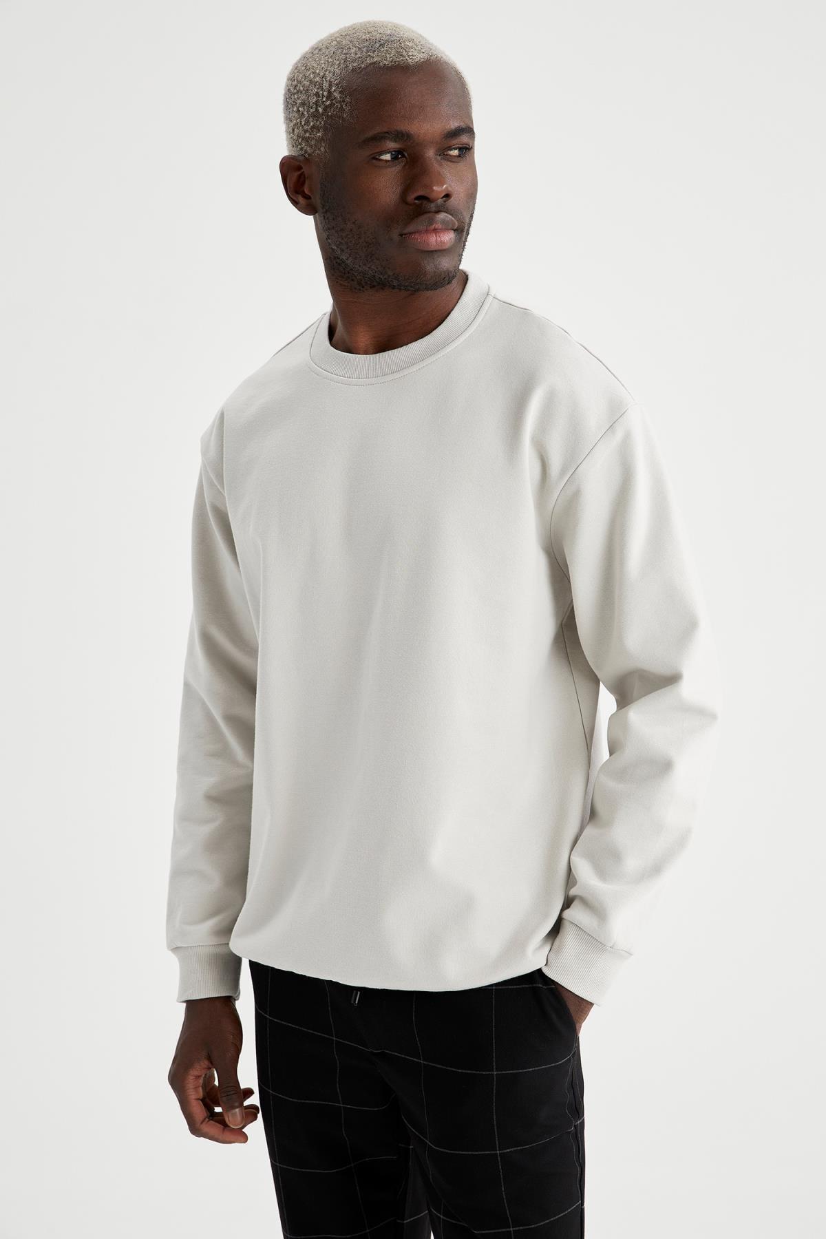 Defacto Oversize Fit Bisiklet Yaka Basic Sweatshirt 4