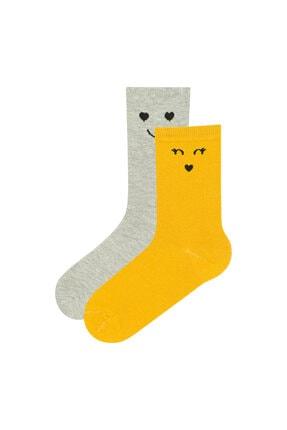 Penti Beyaz Sarı Smılıng 2li Soket Çorap 0