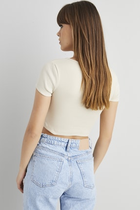 Cool & Sexy Kadın Taş Kaşkorse Crop Bluz ELT58 3