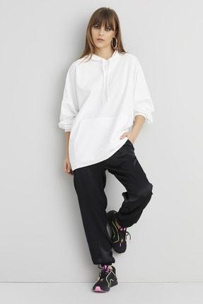 تصویر از Kadın Beyaz Kanguru Cep Kapüşonlu Sweat Elbise DY2349
