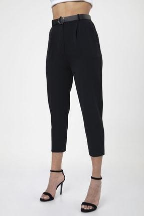 MD trend Kadın Siyah Kemerli Pileli Havuç Kesim Ofis Pantolon 1