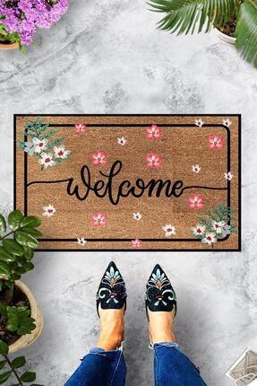 Evsebu Dekoratif Kapı Önü Paspası Welcome Pembe Çiçek 0