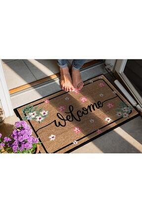 Evsebu Dekoratif Kapı Önü Paspası Welcome Pembe Çiçek 2