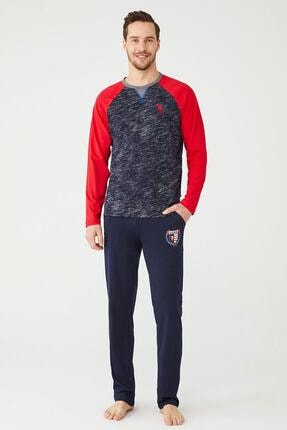 US Polo Assn Erkek Lacivert Yuvarlak Yaka Pijama Takım 0
